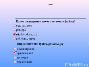 Задание 1 Какое расширение имеет текстовые файлы? exe, bat, com ppt, pps rtf, do