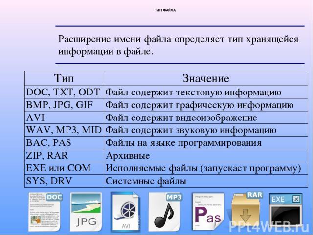 ТИП ФАЙЛА Расширение имени файла определяет тип хранящейся информации в файле. Тип Значение DOC, TXT, ODT Файл содержит текстовую информацию BMP, JPG,GIF Файл содержит графическую информацию AVI Файл содержит видеоизображение WAV,MP3, MID Файл содер…