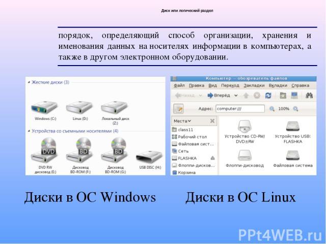 Диск или логический раздел порядок, определяющий способ организации, хранения и именования данных наносителях информациив компьютерах, а также в другом электронномоборудовании. Диски в ОС Windows Диски в ОС Linux