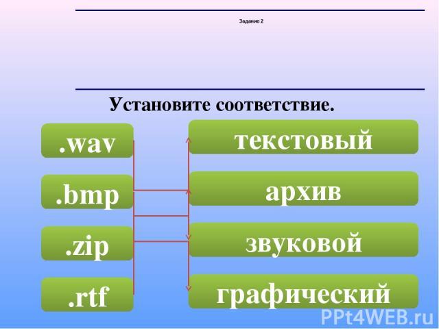 Задание 2 Установите соответствие. .wav .bmp .zip .rtf текстовый архив звуковой графический