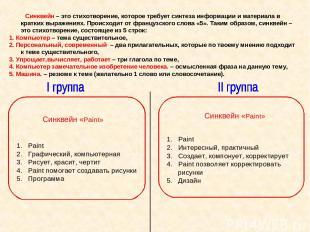 Синквейн – это стихотворение, которое требует синтеза информации и материала в к
