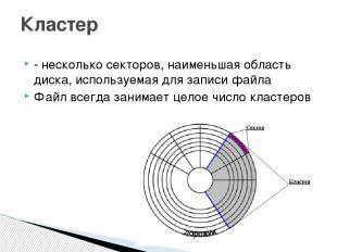 - несколько секторов, наименьшая область диска, используемая для записи файла Фа