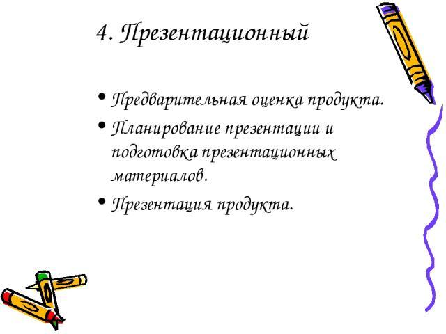 4. Презентационный Предварительная оценка продукта. Планирование презентации и подготовка презентационных материалов. Презентация продукта.