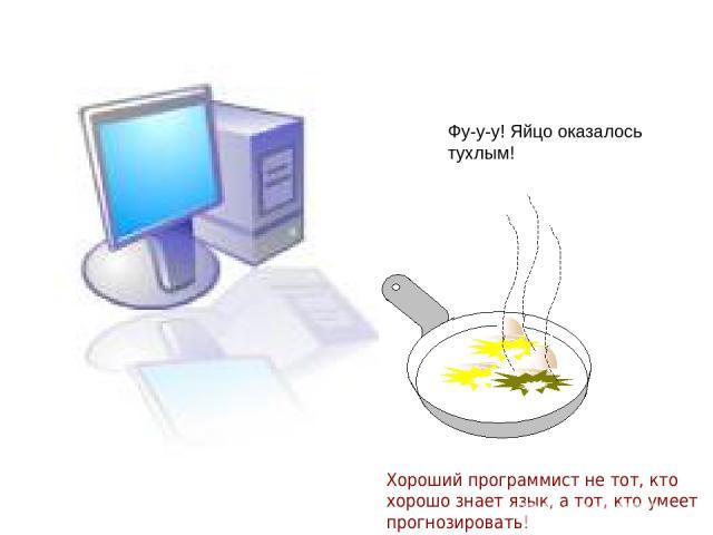 Фу-у-у! Яйцо оказалось тухлым! Хороший программист не тот, кто хорошо знает язык, а тот, кто умеет прогнозировать!