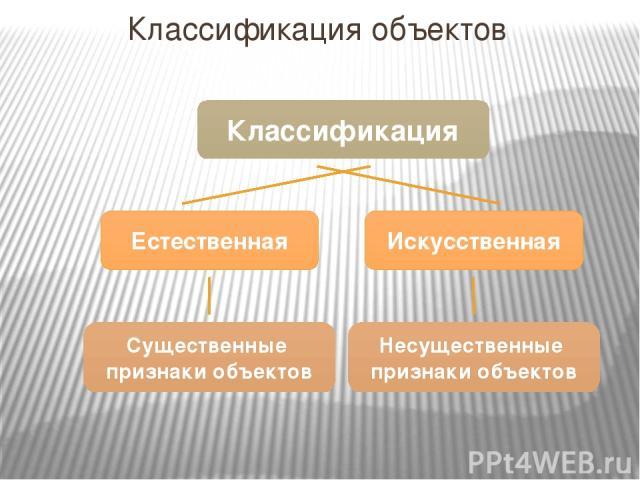 Классификация объектов Классификация Естественная Искусственная Существенные признаки объектов Несущественные признаки объектов