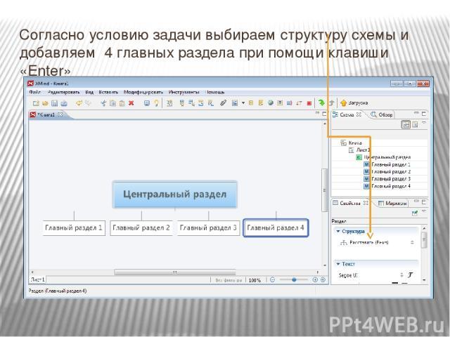 Согласно условию задачи выбираем структуру схемы и добавляем 4 главных раздела при помощи клавиши «Enter»