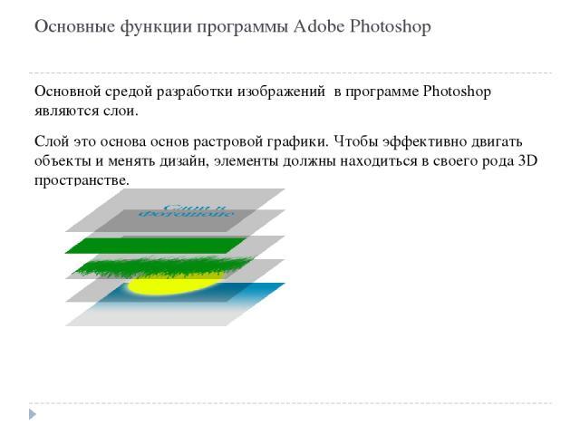 Основные функции программы Adobe Photoshop Основной средой разработки изображений в программе Photoshop являются слои. Слой это основа основ растровой графики. Чтобы эффективно двигать объекты и менять дизайн, элементы должны находиться в своего род…