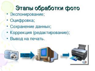 Этапы обработки фото Экспонирование; Оцифровка; Сохранение данных; Коррекция (ре