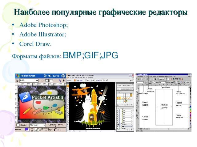 Наиболее популярные графические редакторы Adobe Photoshop; Adobe Illustrator; Corel Draw. Форматы файлов: BMP;GIF;JPG