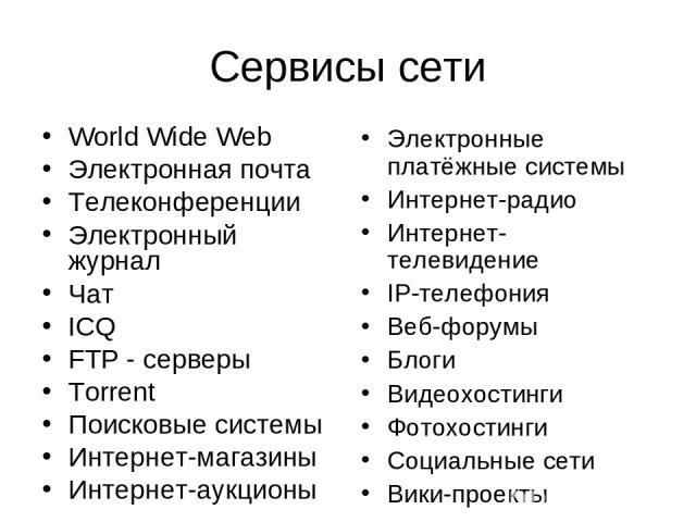 Сервисы сети World Wide Web Электронная почта Телеконференции Электронный журнал Чат ICQ FTP - серверы Torrent Поисковые системы Интернет-магазины Интернет-аукционы Электронные платёжные системы Интернет-радио Интернет-телевидение IP-телефония Веб-ф…