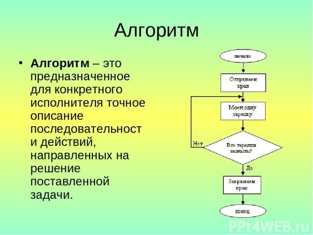 Алгоритм Алгоритм – это предназначенное для конкретного исполнителя точное описание последовательности действий, направленных на решение поставленной задачи.