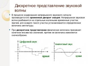 Дискретное представление звуковой волны В процессе кодирования непрерывного звук