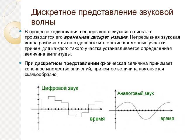 Дискретное представление звуковой волны В процессе кодирования непрерывного звукового сигнала производится еговременнаядискретизация.Непрерывная звуковая волна разбивается на отдельные маленькие временные участки, причем для каждого такого участк…