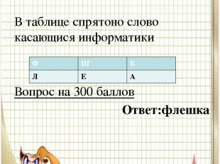 Вопрос № 2 В таблице спрятоно слово касающися информатики Вопрос на 300 баллов О