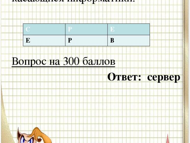 Вопрос №1 В таблице спрятоно слово касающися информатики. Вопрос на 300 баллов Ответ: сервер С Р Е Е Р В