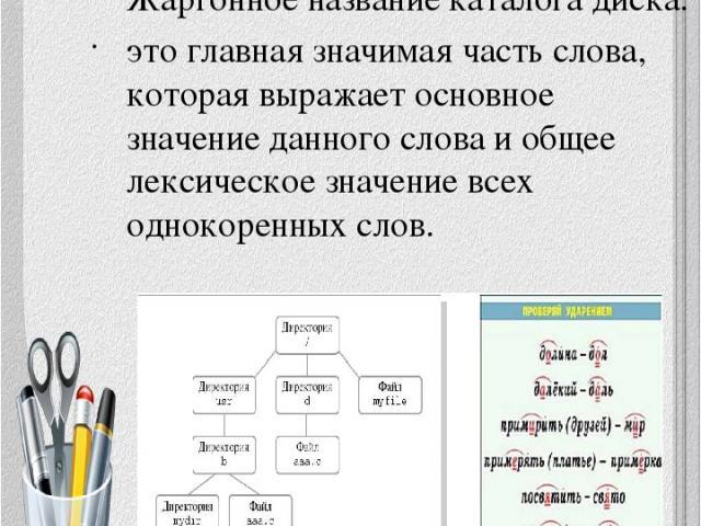 № 3 Жаргонное название каталога диска. это главная значимая часть слова, которая выражает основное значение данного слова и общее лексическое значение всех однокоренных слов.