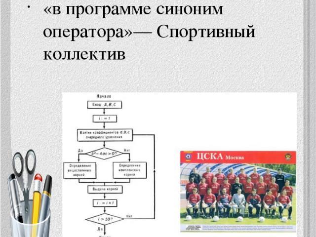 № 6 «в программе синоним оператора»— Спортивный коллектив