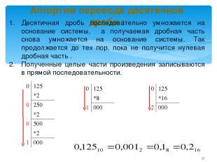 Алгортим перевода десятичной дроби : Десятичная дробь последовательно умножается