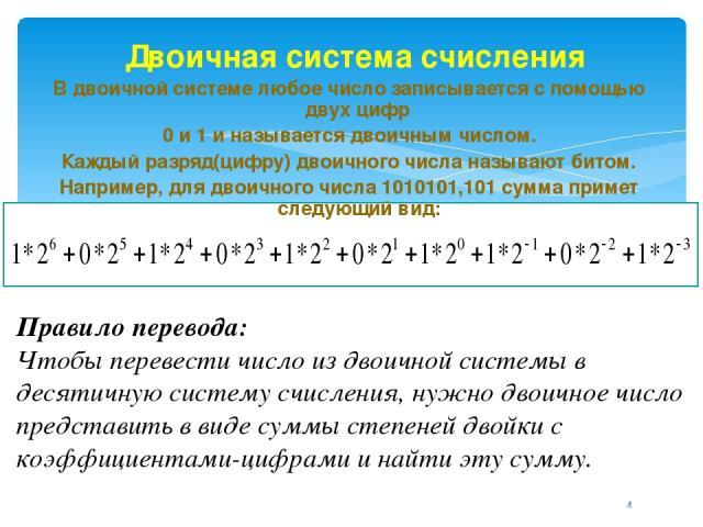 Двоичная система счисления В двоичной системе любое число записывается с помощью двух цифр 0 и 1 и называется двоичным числом. Каждый разряд(цифру) двоичного числа называют битом. Например, для двоичного числа 1010101,101 сумма примет следующий вид:…