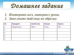 Домашнее задание Повторить весь материал урока. Заполните таблицу по образцу: №