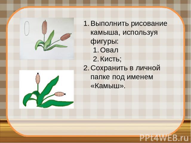 Выполнить рисование камыша, используя фигуры: Овал Кисть; Сохранить в личной папке под именем «Камыш».
