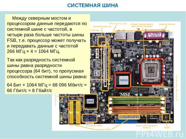 СИСТЕМНАЯ ШИНА Между северным мостом и процессором данные передаются по системной шине с частотой, в четыре раза больше частоты шины FSB, т.е. процессор может получать и передавать данные с частотой 266 МГц × 4 = 1064 МГц. Так как разрядность систем…