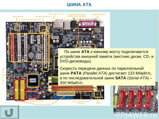ШИНА ATA По шине АТА к южному мосту подключаются устройства внешней памяти (жесткие диски, CD- и DVD-дисководы). Скорость передачи данных по параллельной шине РАТA (Parallel ATA) достигает 133 Мбайт/с, а по последовательной шине SATA (Serial ATA) – …
