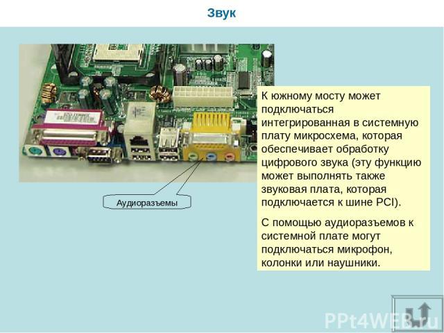 Звук К южному мосту может подключаться интегрированная в системную плату микросхема, которая обеспечивает обработку цифрового звука (эту функцию может выполнять также звуковая плата, которая подключается к шине PCI). С помощью аудиоразъемов к систем…