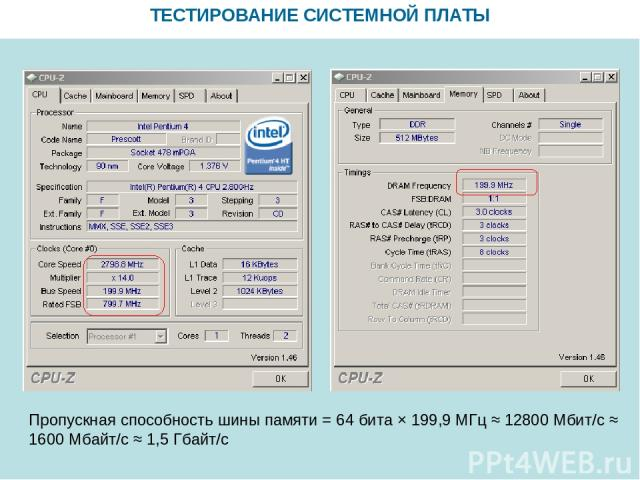 ТЕСТИРОВАНИЕ СИСТЕМНОЙ ПЛАТЫ Пропускная способность шины памяти = 64 бита × 199,9 МГц ≈ 12800 Мбит/с ≈ 1600 Мбайт/с ≈ 1,5 Гбайт/с