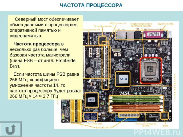 ЧАСТОТА ПРОЦЕССОРА Северный мост обеспечивает обмен данными с процессором, оперативной памятью и видеопамятью. Частота процессора в несколько раз больше, чем базовая частота магистрали (шина FSB – от англ. FrontSide Bus). Если частота шины FSB равна…