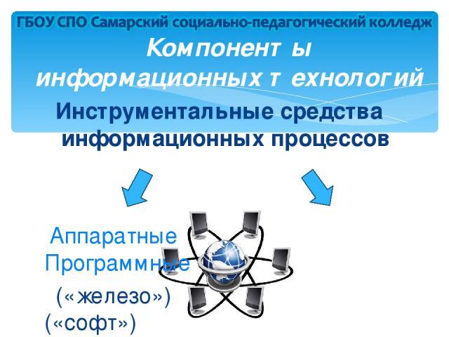 Компоненты информационных технологий Инструментальные средства информационных процессов Аппаратные Программные («железо») («софт»)