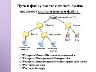 Путь к файлу вместе с именем файла называют полным именем файла. C:\Рефераты\Физ