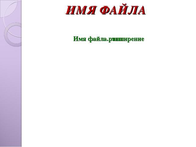 ИМЯ ФАЙЛА Имя файла. расширение тип