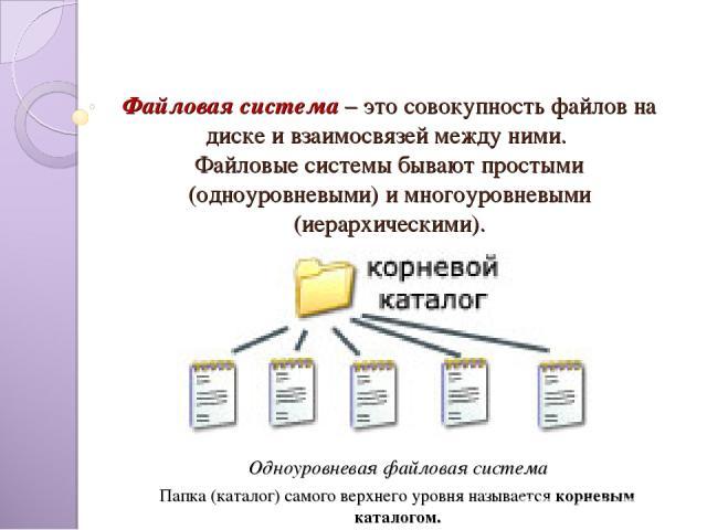 Файловая система – это совокупность файлов на диске и взаимосвязей между ними. Файловые системы бывают простыми (одноуровневыми) и многоуровневыми (иерархическими). Одноуровневая файловая система Папка (каталог) самого верхнего уровня называется кор…