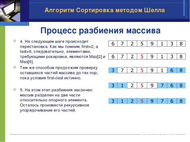 Процесс разбиения массива 4. На следующем шаге происходит перестановка. Как мы помним, first=2, а last=6, следовательно, элементами, требующими рокировки, являются Mas[2] и Mas[6]. Тем же способом продолжим проверку оставшихся частей массива до тех …