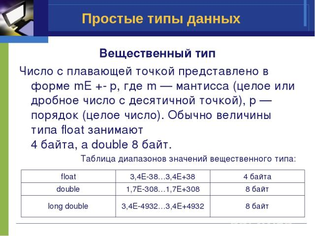 Простые типы данных Вещественный тип Число с плавающей точкой представлено в форме mE +- p, где m — мантисса (целое или дробное число с десятичной точкой), p — порядок (целое число). Обычно величины типа float занимают 4 байта, а double 8 байт. Табл…
