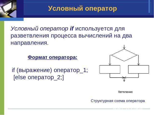 Условный оператор if используется для разветвления процесса вычислений на два направления. Структурная схема оператора Формат оператора: if (выражение) оператор_1; [else оператор_2;] Условный оператор