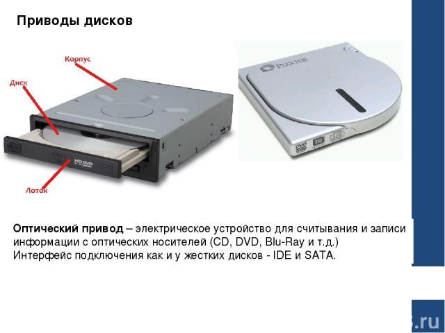 Приводы дисков Оптическийпривод– электрическое устройство для считывания и записи информации соптических носителей (CD, DVD, Blu-Ray и т.д.) Интерфейс подключения как и у жестких дисков - IDE и SATA.