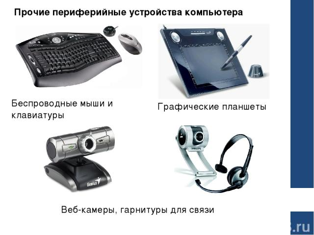 Прочие периферийные устройства компьютера Беспроводные мыши и клавиатуры Графические планшеты Веб-камеры, гарнитуры для связи