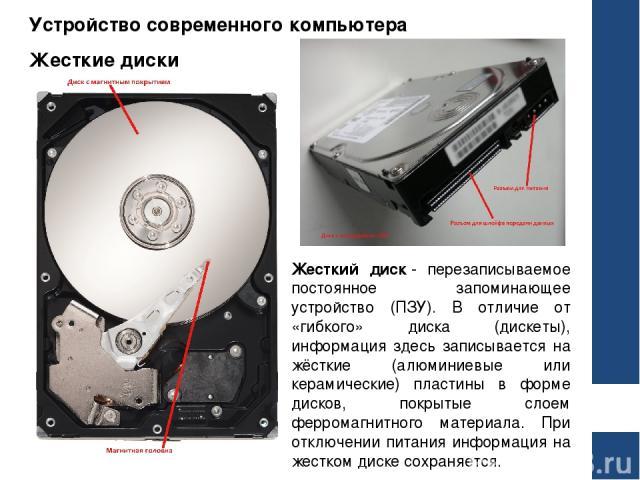 Устройство современного компьютера Жесткие диски Жесткий диск- перезаписываемое постоянное запоминающее устройство (ПЗУ). В отличие от «гибкого» диска (дискеты), информация здесь записывается на жёсткие (алюминиевые или керамические) пластины в фор…
