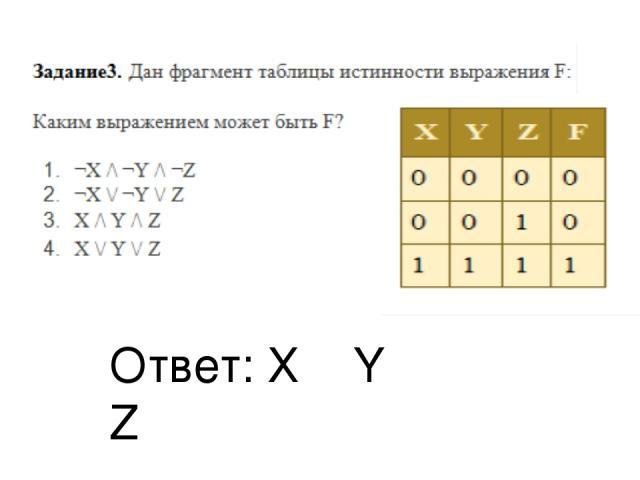 Ответ: Х ˄ Y ˄ Z