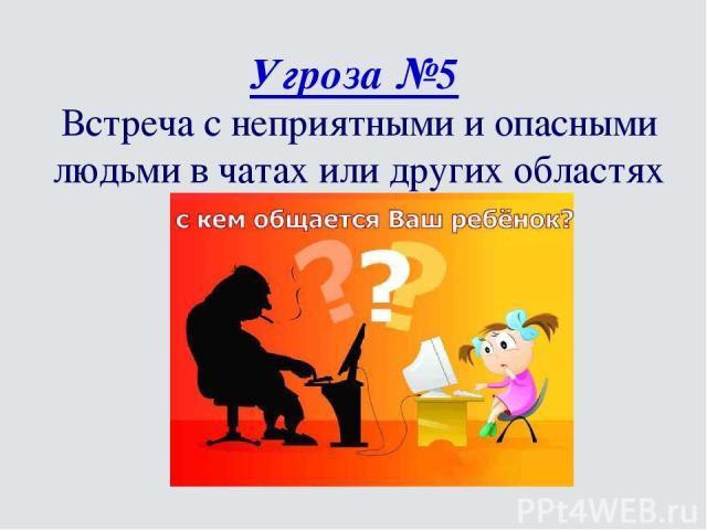 Угроза №5 Встреча с неприятными и опасными людьми в чатах или других областях