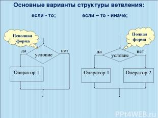 Основные варианты структуры ветвления: если - то; если – то - иначе; Полная форм