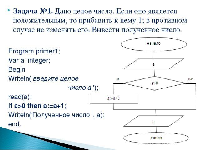 Задача №1. Дано целое число. Если оно является положительным, то прибавить к нему 1; в противном случае не изменять его. Вывести полученное число. Program primer1; Var a :integer; Begin Writeln('введите целое число а '); read(а); if a>0 then a:=a+1;…