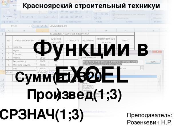 Функции в EXCEL Cумм(а1:B20) CРЗНАЧ(1;3) Произвед(1;3) Красноярский строительный техникум Преподаватель: Розенкевич Н.Р.