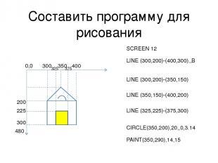 Составить программу для рисования 300 200 400 300 350 225 325 375 SCREEN 12 LINE