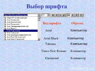 Выбор шрифта Arial Компьютер Arial Black Tahoma Компьютер Вид шрифта Образец Tim