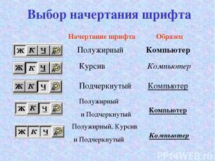Выбор начертания шрифта Начертание шрифта Образец Полужирный Компьютер Курсив Ко
