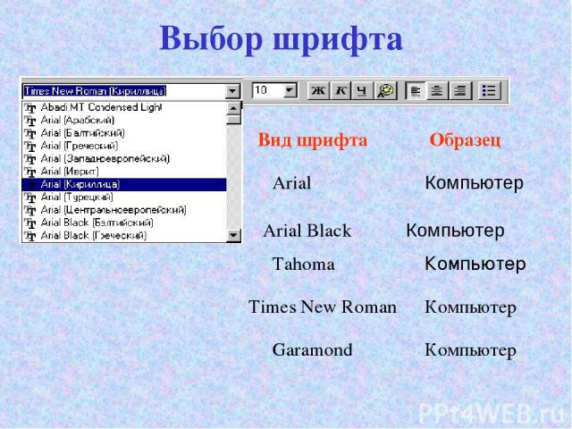Выбор шрифта Arial Компьютер Arial Black Tahoma Компьютер Вид шрифта Образец Times New Roman Garamond Компьютер Компьютер Компьютер