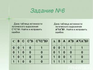Задание №6 Дана таблица истинности логического выражения C C . Найти и исправить